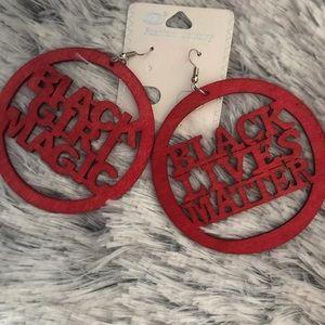 Jewelry - Black Lives Matter Wood hoop earrings jewelry